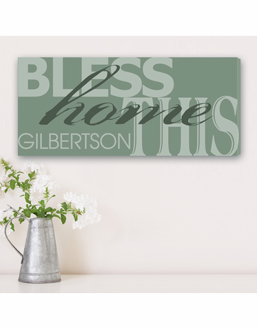 """Bless This Home"" Personalized Canvas Family Print"