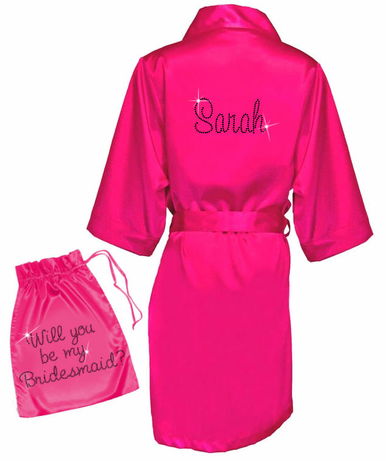 Rhinestone Bridal Party Robes with Satin Garment Bag - Will you be my _____?