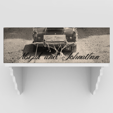 Personalized Bride and Groom Antique Car Canvas Print