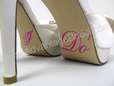 I Do Wedding Shoe Stickers in Fuchsia Glitter