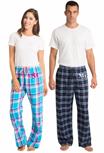 Monogrammed Mens and Womens Pajama Pants