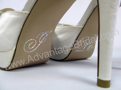 I Do Wedding Shoe Stickers in Silver Glitter