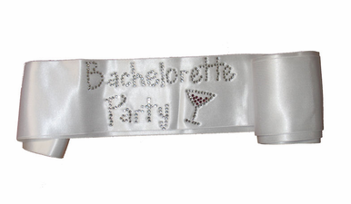 Bachelorette Party Martini Rhinestone Sash in Choice of Colors
