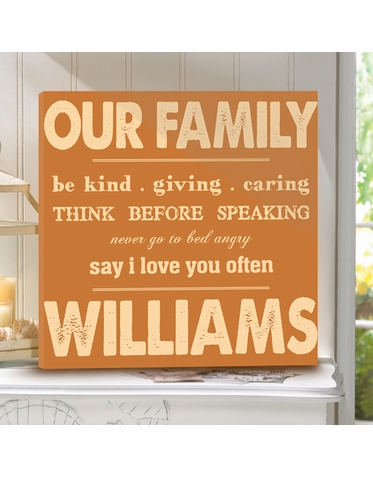 """Rules of Our Family"" Personalized Canvas Print"