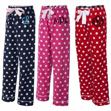 Fun Polka Dot Flannel Pajama Pants with Embroidered Monogram - Many Styles Available
