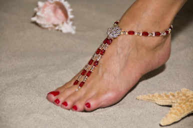 Brilliant Ruby Red Barefoot Sandals