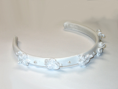 Satin Flower Girl Headband with Roses and Pearls
