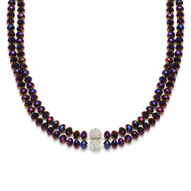 Custom Made Faceted Cut Glass And Swarovski Crystal Fireball Necklace  Available In 22 Colors