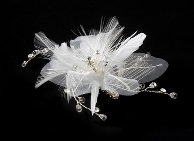 Floral Bridal Comb in White or Ivory