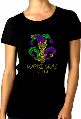 Rhinestone Mardi Gras Shirt With Year