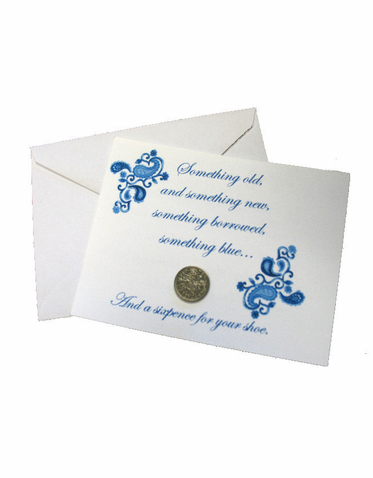 Bride's Lucky Sixpence and Poem Card - Traditional