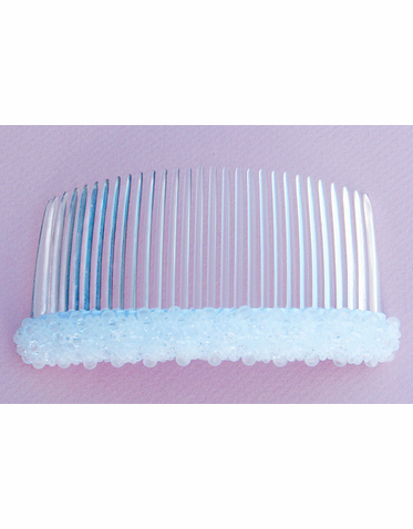 Clear Bead and Crystal White Hair Comb