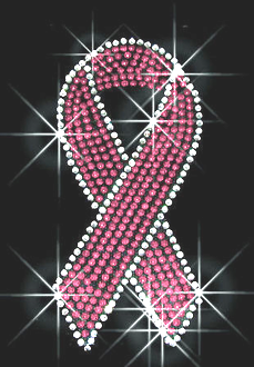 Breast Cancer Ribbon Rhinestone Transfer
