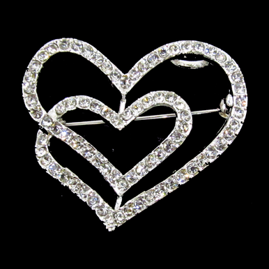 Double Heart Rhinestone Pin