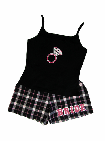 Printed Flannel Bitty Boxers and Cami for the Bride