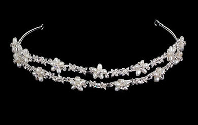 Silver Double Strand Tiara with Ivory Pearls TR2193