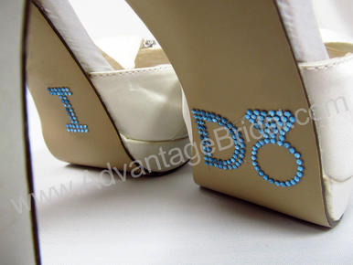 I Do Diamond Ring Shoe Applique in Light  Blue Rhinestones