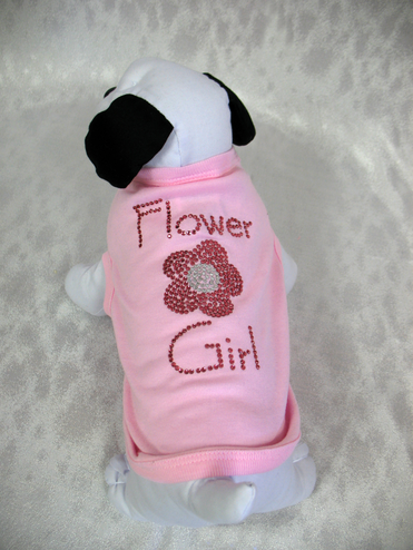 Flower Girl Dog Tee with Crystal Flower