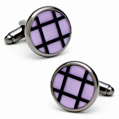 Stylish Black Onyx And Amethyst Cufflinks In Gunmetal Finish