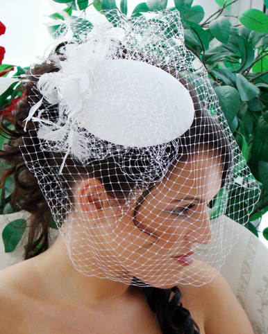 Vintage Bridal Hat Style with Cage Veil