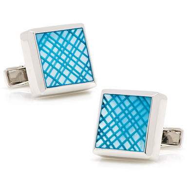 Striking Etched Plaid Mother Of Pearl And Sterling Silver Cufflinks  Five Vibrant Colors