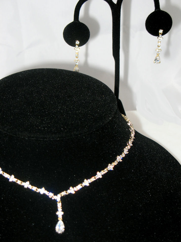 Small Teardrop CZ Crystal Jewelry Set in Silver or Gold - 3 Piece Set