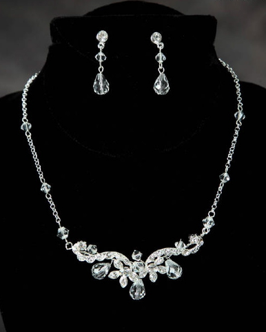 Fancy Crystal Drop Bridal Jewelry Set 942EN
