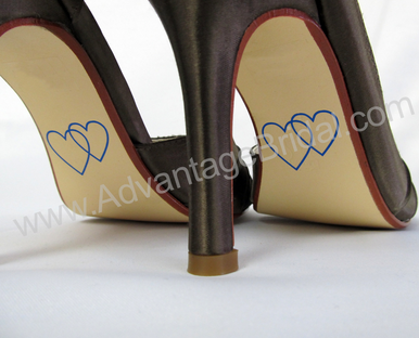 Custom Double Heart Shoe Stickers for Wedding Shoes