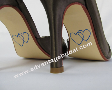 Double Heart Custom Cut Wedding Shoe Stickers