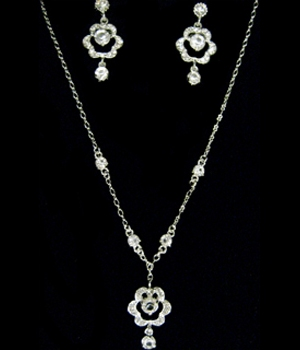 Silver and Crystal Necklace and Earring Jewelry Set-1018