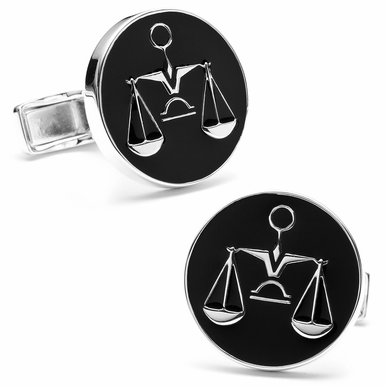 Justice Cufflinks In Black Enamel By Ravi Ratan