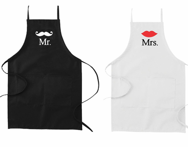 Custom Printed Mr and Mrs His and Hers Aprons