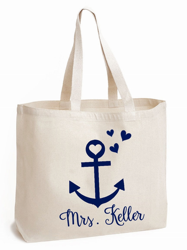 Personalized Mrs. Anchor Tote Bag with Heart Accents