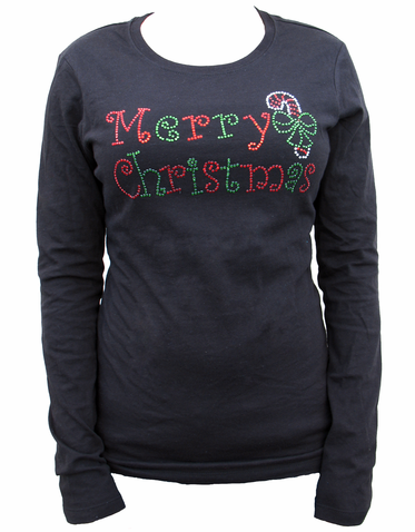Crystal Merry Christmas Shirt with Candy Cane