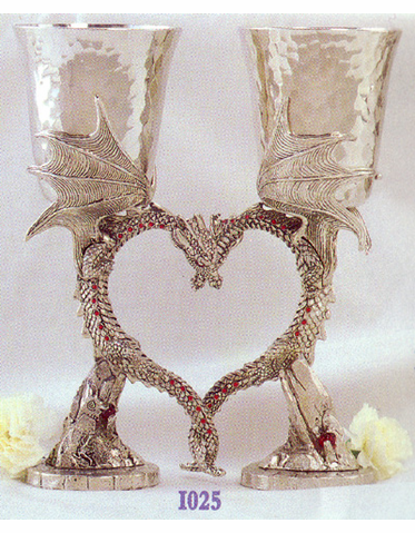 Pewter Dragon Heart Goblets