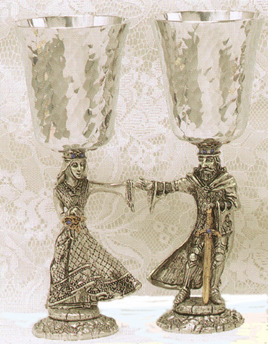 Arthur and Guinevere Pewter Goblets