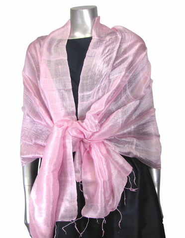 Silk Evening Wrap in Baby Pink
