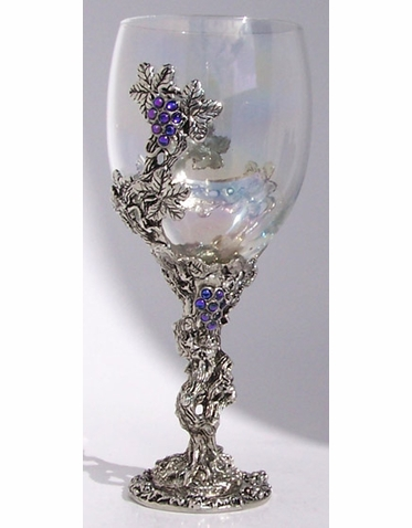 Pewter and Crystal Grape Vine Glass
