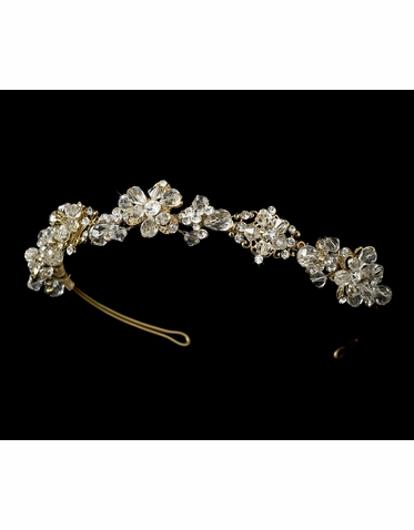 Crystal Flower Headband in Silver or Gold