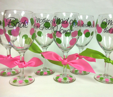 Personalized Wine Glasses with Optional Polka Dots
