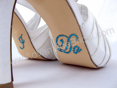 I Do Shoe Stickers for Bridal Shoes Turquoise Script