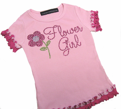 Cute Flower Girl T-Shirt with Ruffles and Rhinestones!