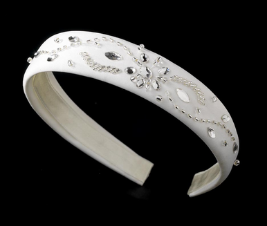 Ivory Headband with Floral Crystal Design