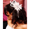 Vintage Style Feather Hair Fascinator with Dangling Crystals