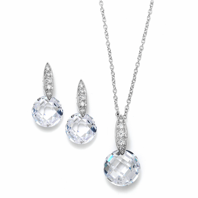 Faceted Zirconia Crystal Pendant Necklace Set