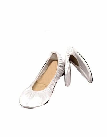 White Satin Foldable Ballet Flats