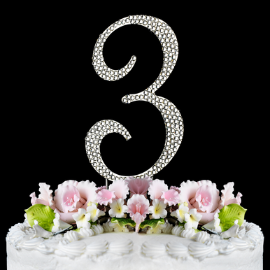 Fully Covered Crystal Number 3 Cake Topper