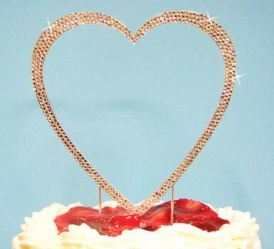 Fully Encrusted Single Heart Cake Topper in Silver or Gold