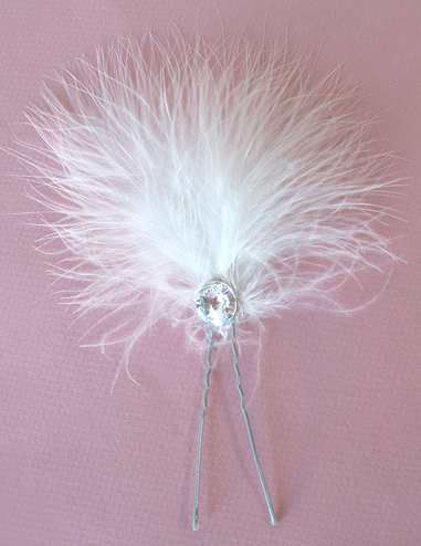 Marabou and Crystal Hair Piece