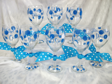 Personalized Wine Glass with Polka Dot Ribbon Accent